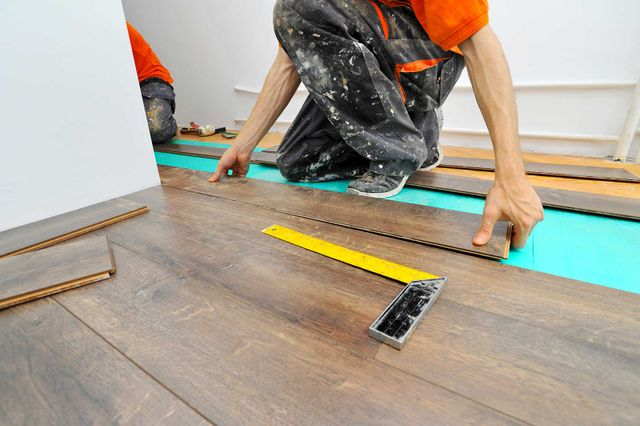 Hardwood flooring being installed by our specialists in Manorville, NY.
