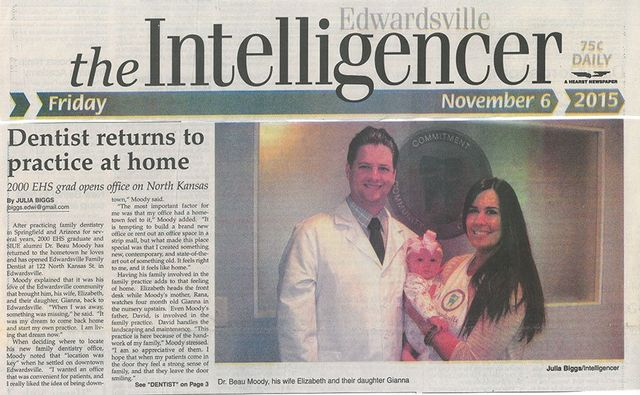 Edwardsville Intelligencer Newspaper article on Dentist returning back home