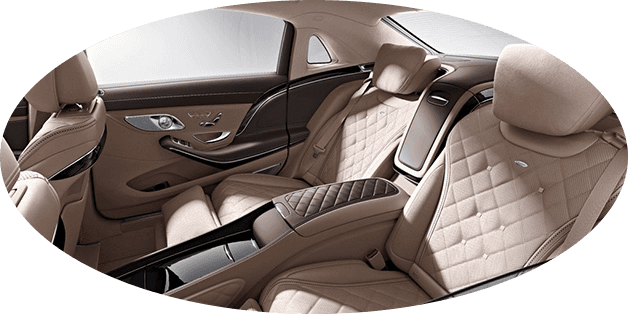 refined interior of Chauffeur driven Mercedes S Class