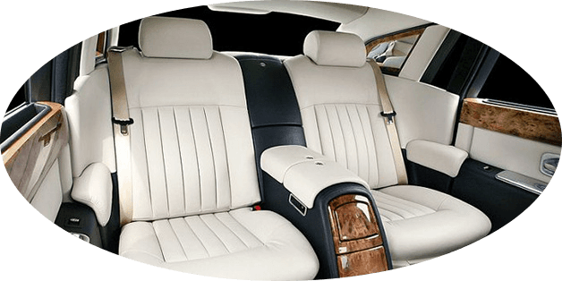 exquisite interior of chauffeured Rolls Royce Phantom wedding cars