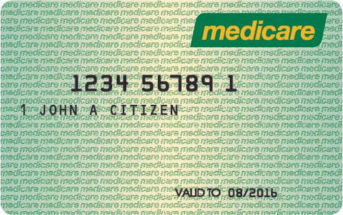 An example of a medicare card