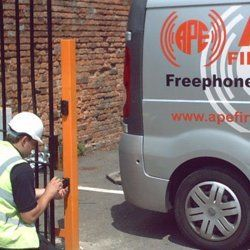 One of our engineers repairing a gate