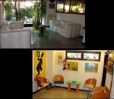 sala per adulti, sala di attesa per bambini, giochi