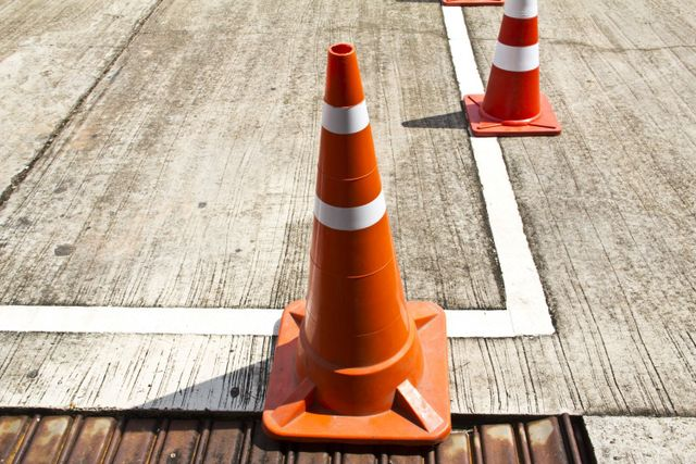 Cones set up at the truck driving school in Tauranga