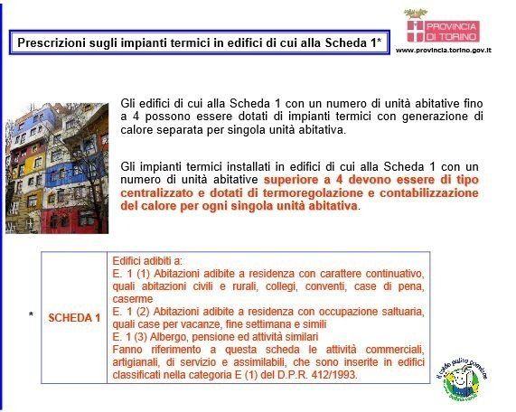 prescrizioni sugli impianti termici in edifici di cui all scheda 1