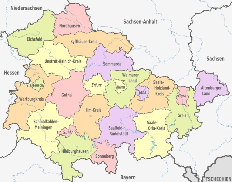 Geologische Karte Thüringen.Wolfsmanagement