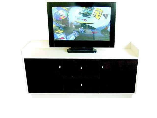 TV on cabinet