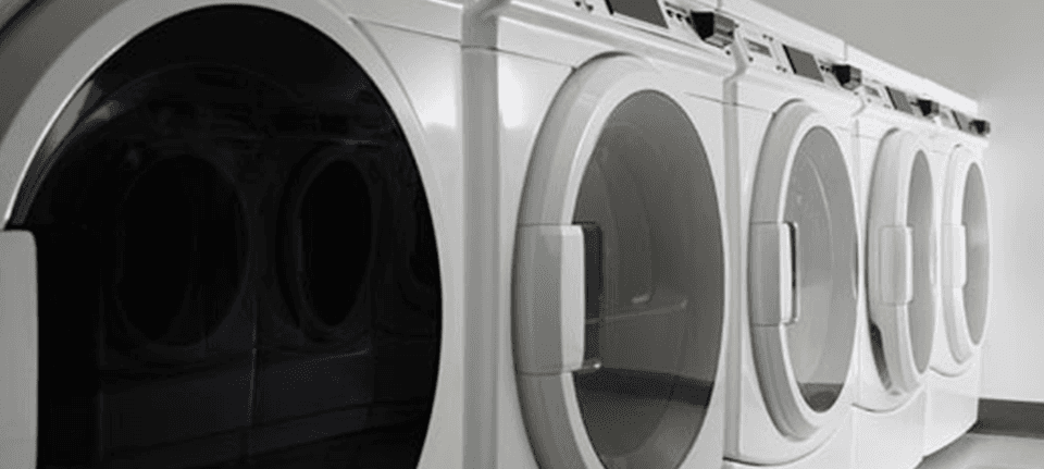 A row of washing machines