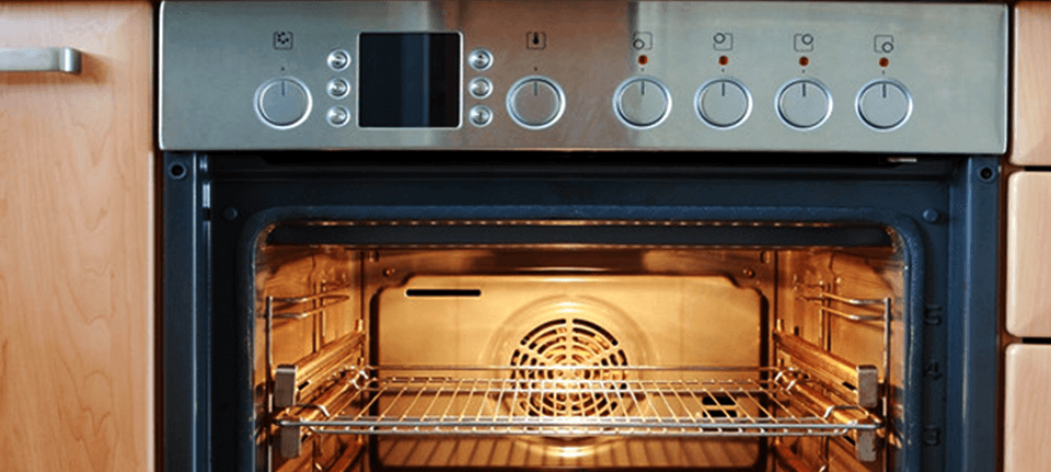 A lit oven