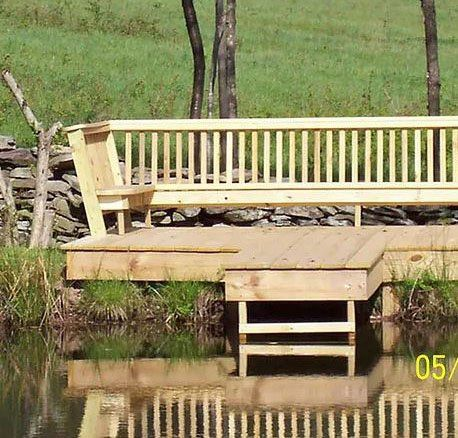 Wooden bench on outside