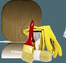 pennelli guanti e pannello marrone