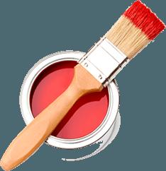 pennello con vernice rossa