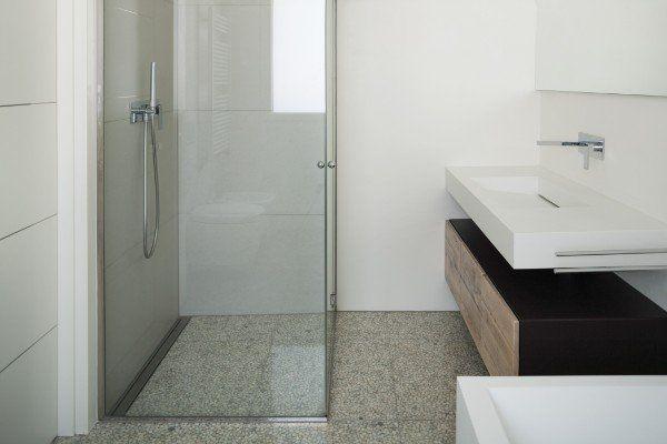 Interior modern house, white bathroom with shower box