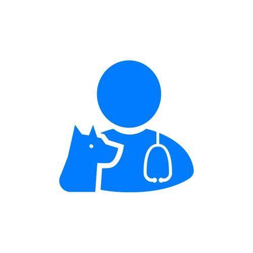 logo di un veterinario e accanto un cane