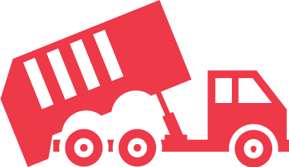 Trash pickup truck icon
