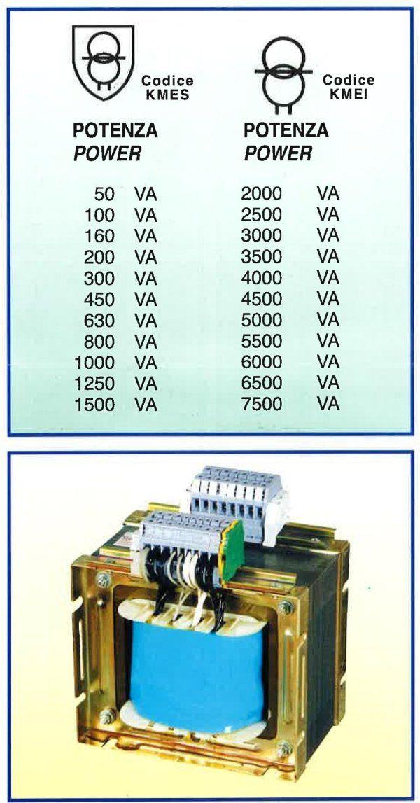 lista potenza da 50 a 1500 VA con trasformatore