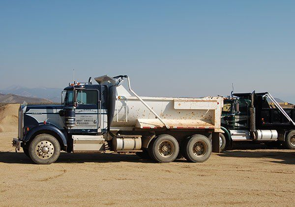 Group of gravel trucks