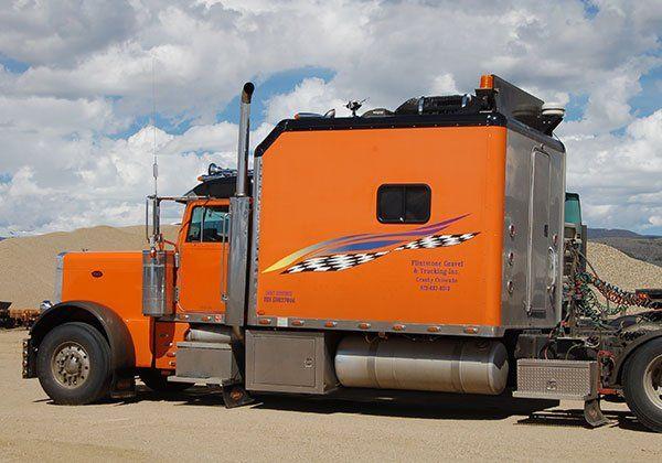 Orange delivery truck