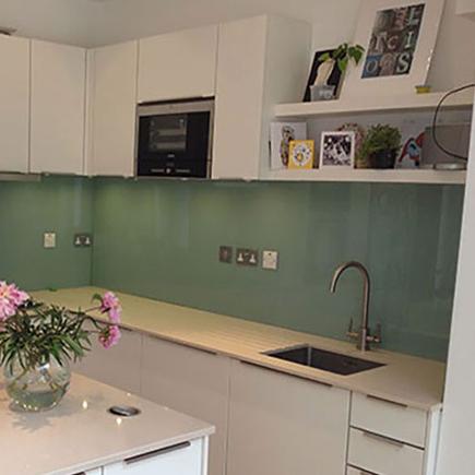 Pale green splashbacks in a kitchen