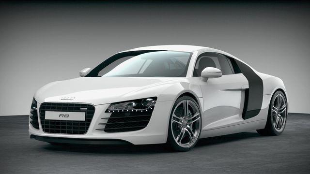 White Audi car side view