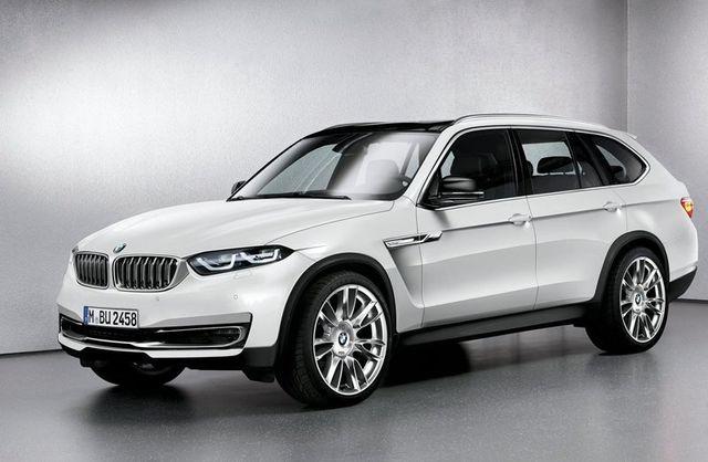 White BMW car side view