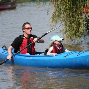 Family site on top kayak for hire by Cotswold Canoe Hire for use on the River Thames