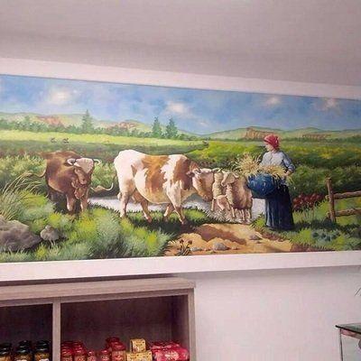 un dipinto di una contadina e delle mucche