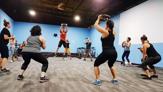 Group workout fitness class