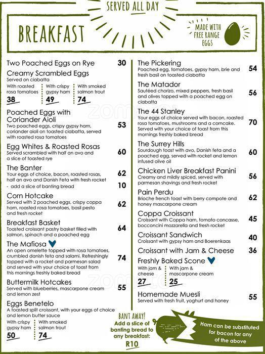 Vovo telo Breakfast menu