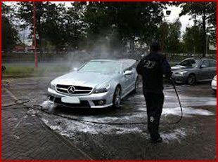 Car being hosed clean