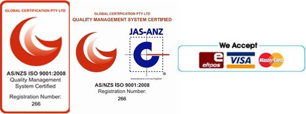 quality management system certified and eftpos, visa, mastercard logo