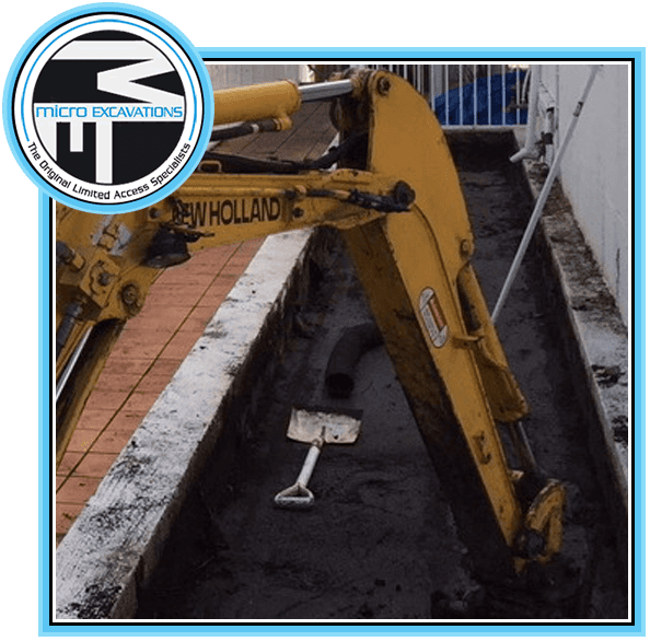 microexcavation with yellow paving