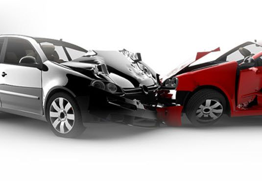 Scene of an automobile accident in Middletown, NY. The driver needs an accident attorney.