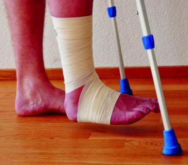 Legs on crutches