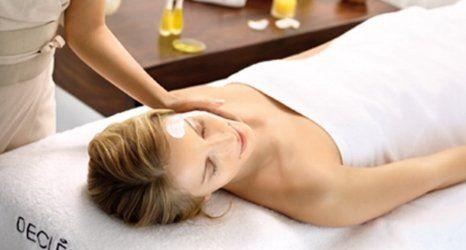 a lady enjoying the massage