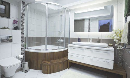 wet room with wooden casing