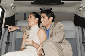 couple travelling in premium cab