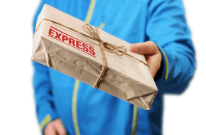 courier person with express delivery package