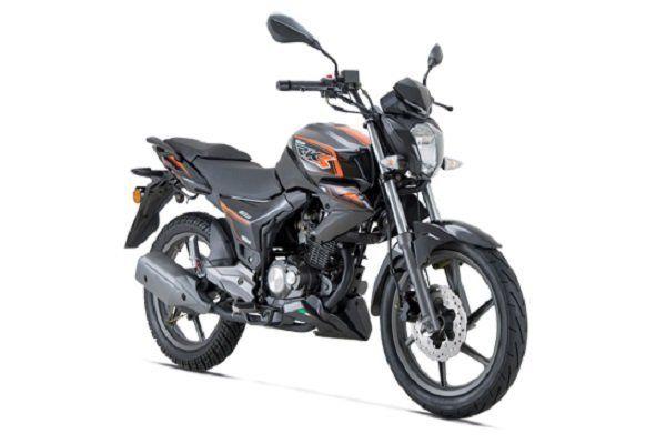 una moto nera con adesivi arancioni