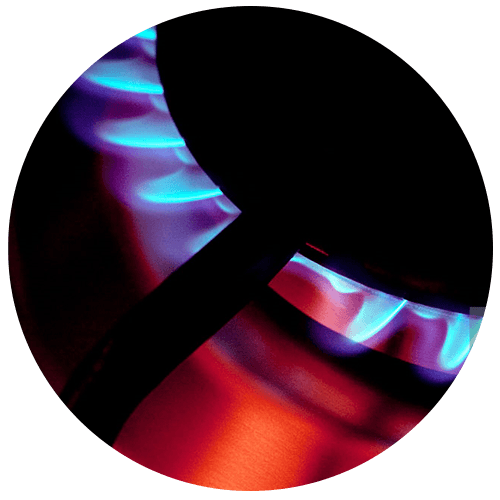 Burning gas stove