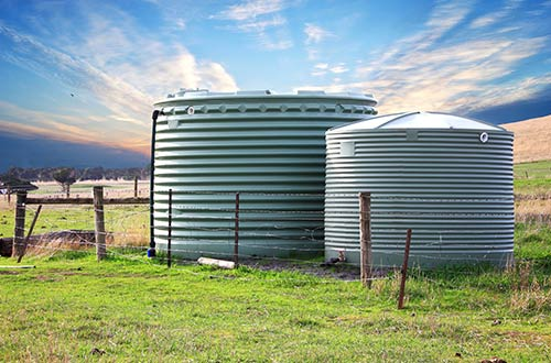 View of water tanks installed by professional in rural areas