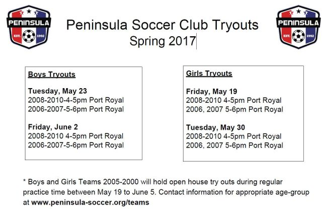 Peninsula Youth Soccer Tryouts