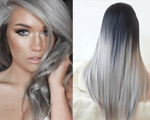 due immagini di una ragazza con capelli lunghi grigi