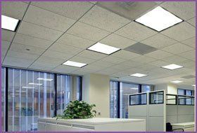 White office with vertical blinds at the windows, and a white suspended ceiling with lights on
