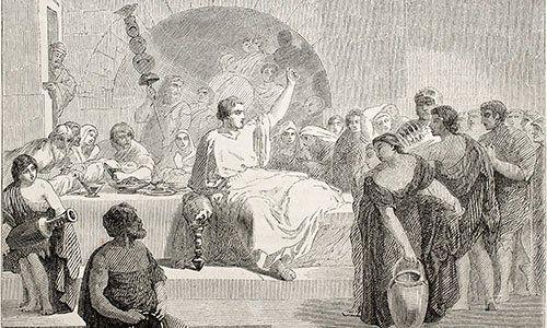 le persone che affrontano romano durante la cena