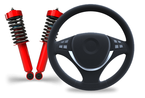 Two suspension springs and a steering wheel