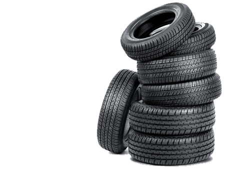 A stack of new tyres