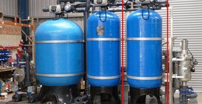blue tanks with pump system