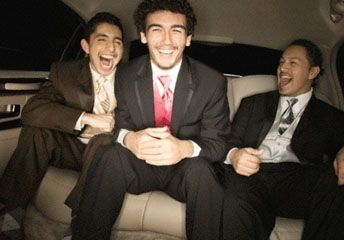guys bachelor party in limo photo