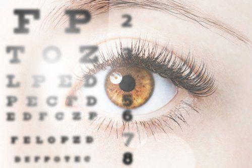 un occhio che guarda, a distanza, lettere e numeri per esame della vista.